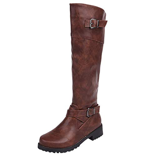 Find Discount Hopwin Women Buckle Mid-Calf Boots | Low Chunky Heel Combat Boot Fashion Leather Round...