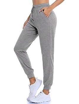 QEESMEI Women s Stretch Drawstring Jogger Pant Pocket Sweatpants Junior Basic Jogger Gray Medium