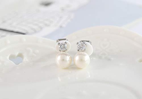 Pendientes con Clip de Perlas de Moda Zirconia cúbica Pendiente sin Agujero para Mujer Joyería de Lujo