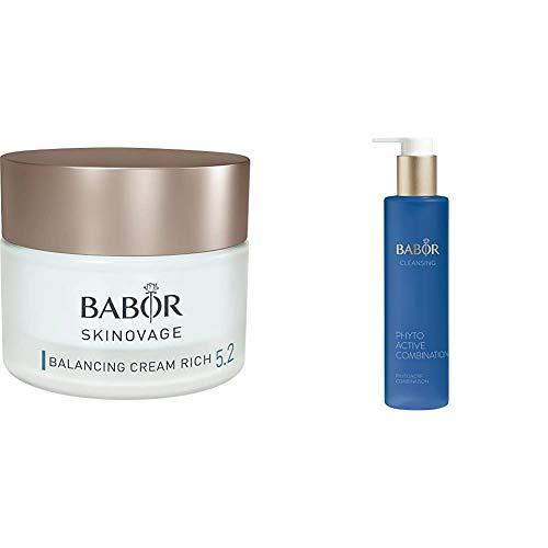 BABOR SKINOVAGE Balancing Cream Rich, geschmeidige Gesichtspflegecreme für Mischhaut, 50ml & CLEANSING Phytoactive Combination, Reinigung mit Pflanzenextrakten, für Mischhaut und ölige Haut, 1x100 ml