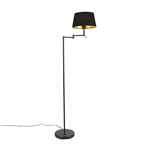 QAZQA Zwart met kap - Lámpara de techo ajustable clásica y antigua para tiendas, iluminación interior, salón, dormitorio, acero, textil, LED, E27, máx. 1 x 60 W