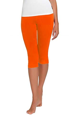 FUNGO Leggings Für Damen 3/4 Länge Capri Damen Sporthose Bunte Yoga Leggins (40, Orange)