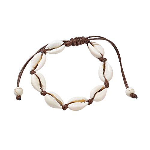 Yazilind Personalisierte Hawaiian Style Casual Armband Shell Handmade Bracelets Freundschaft Armband (Kaffee)