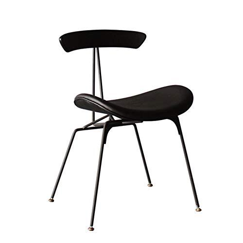 Silla de comedor, silla de comedor de estilo industrial, silla acolchada de cuero, silla de respaldo para el hogar, silla de red roja, taburete de hierro, silla de hormiga, silla de restaurante nórd