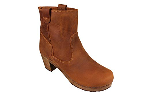 Lotta From Stockholm Swedish Anna Clog in Cognac Soft Oiled Leather-36