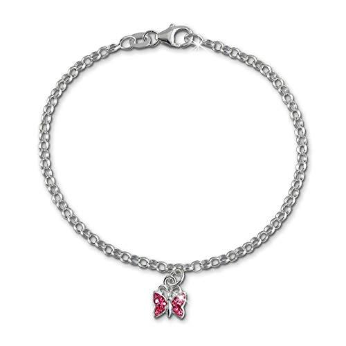 SilberDream Armband rosa Schmetterling Silber Schmuck für Kinder 16cm SDA024