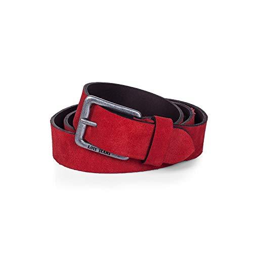 Lois - Cinturon Piel Serraje Ante Cuero Hombre Mujer. Hecho en ESPAÑA. Marca Genuina y Original 35 mm Ancho. Talla Ajustable 49809, Color Rojo