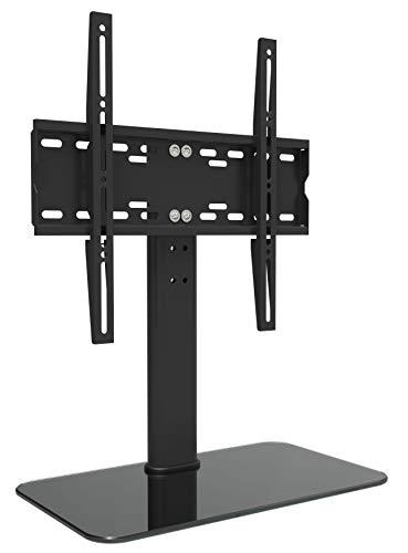 RICOO TV Standfuss Universal Höhenverstellbar Ständer FS304B Fernsehtisch Standfuß Halterung Fernsehständer LCD LED Flachbildfernseher Stand Glas Aufsatz VESA 400x400 Tischständer/Schwarz