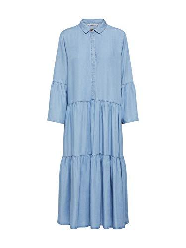 Numph 7220802 NUANNA jurk lange jurk met kraag hemd mouwen ballon denim stof lyocell