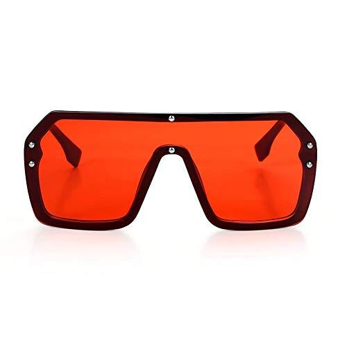 Modische Sonnenbrille Rot Schwarz Übergroße Quadratische Sonnenbrille Männer Neu Einteilige Linse Großer Rahmen Sonnenbrille Für Frauen Uv400 Silber Spiegel C3