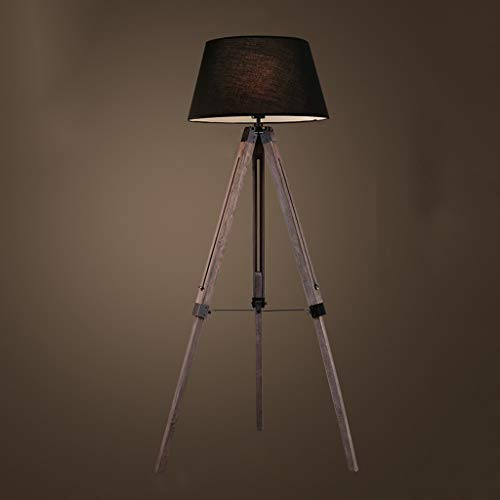 JLXW driepoot statief van hout en vloerlamp voor woonkamer en slaapkamer, industriële vintage lampenkap van stof met 3 W gloeilamp, zwart