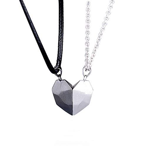 Fuwu, collar pareja, collar magnetico pareja con forma de corazon, collar iman para pareja con sobre de regalo (Negro-Blanco)