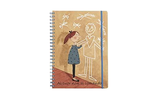 Cuaderno de espiral A4 120 hojas tapa de plástico y portafolios cuaderno de anillas - Apto para recordatorios, escuela, oficina con gráficos de Le Nasute, temática 'Al Cuor no se comanda'