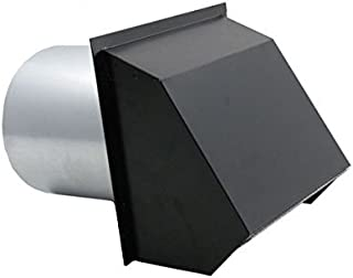 Hooded Wall Vent with Spring Loaded Damper, Gasket and Screen - Painted 10 inch Black
