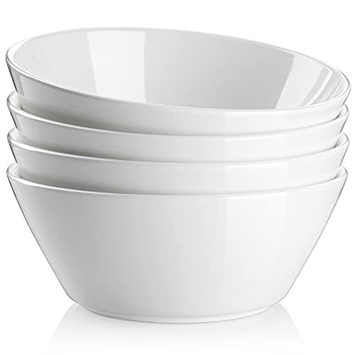 Soup Bowls Large Cereal Bowls, 32 oz Ceramic Bowls for Kitchen, White Bowls Set for Cereal Soup Pasta Salad Ramen Pho, Chip Resistant, Dishwasher & Microwave Safe, Set of 4