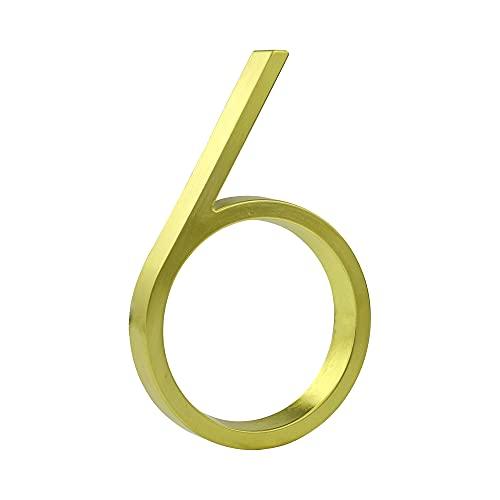 HASWARE drijvend huisnummerbord 5 inch (12 cm) moderne deurnummers bewegwijzering plaque straat huisadresnummers (gouden…