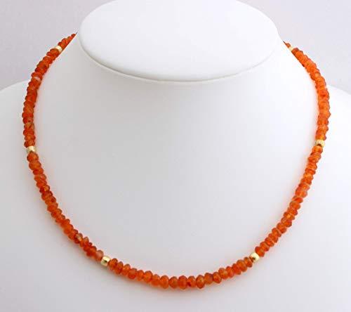 Karneol Kette facettierte Orange Collier mit vergoldet 925 Silber