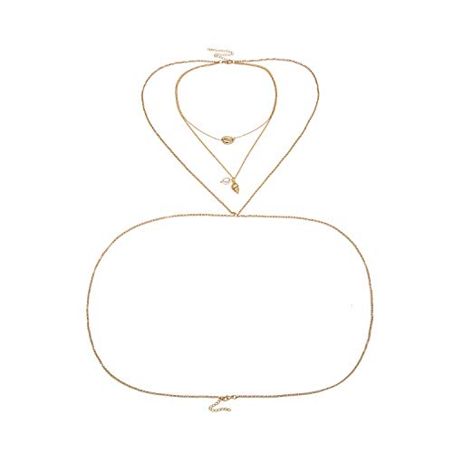 Old street Gold Shell Pearl Pendant Body Waist Chain for Women Sexy Belly Body Chain Necklace Bikini Beach Jewelry 0465,Bd1012