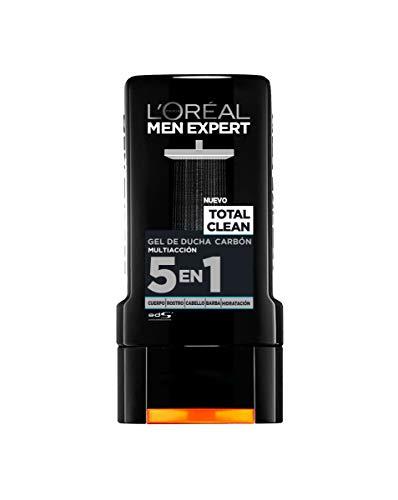 L'Oréal Paris - Men Expert, Gel de Ducha Carbón Multiacción 5 en 1 Total Clean - Pack de 6 x 300 ml