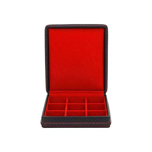Friedrich 23 - Ecrin 9 Boutons De Manchette, Carbone, Fibre De Carbone Intérieur Rouge