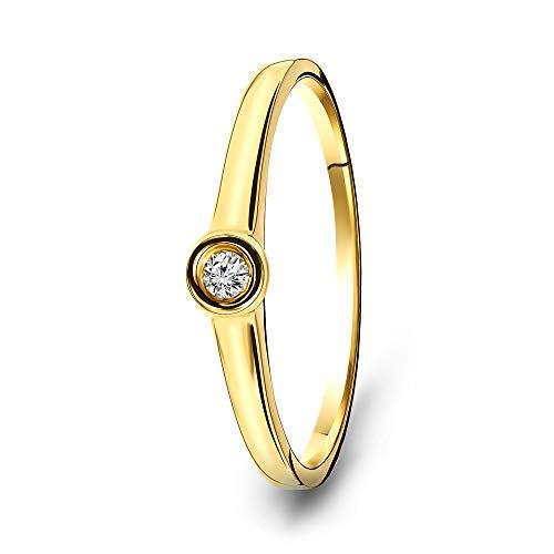 Miore - Anello da donna con solitario in oro giallo 9 carati 375 e diamanti 0,04 carati e Oro giallo, 56 (17.8), cod. USP109RY56