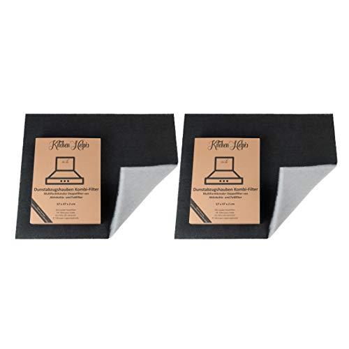 Kitchen Helpis® 2 Dunstabzugshauben Kombifilter – Aktivkohle UND Fettfilter in einem, Doppelfilter 57x47 cm, Dunstabzugshauben-Filter, Aktivkohlefilter Dunstabzugshaube, Fettfilter Dunstabzugshaube