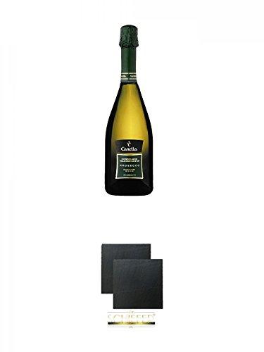 Canella Prosecco Conegliano D.O.C.G Millesimato Spumante 0,75 Liter + Schiefer Glasuntersetzer eckig ca. 9,5 cm Ø 2 Stück
