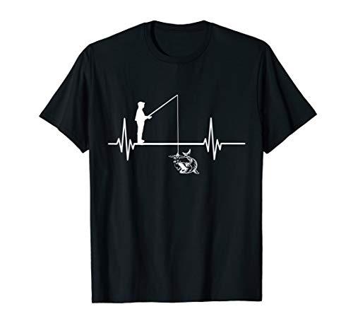 Lustiges Fischen Herzschlag Fischer Angler Petri Heil T-Shirt