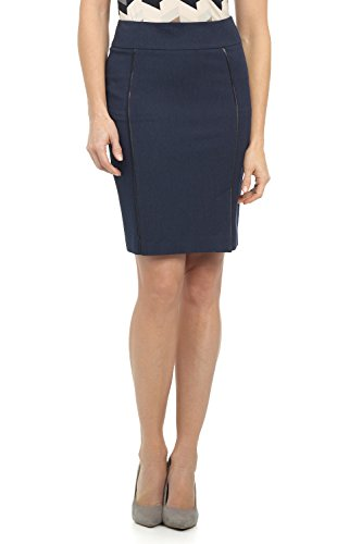 Rekucci Collection Women's Ease in to Comfort Pull-on Pencil Skirt with Piping (12,Indigo)