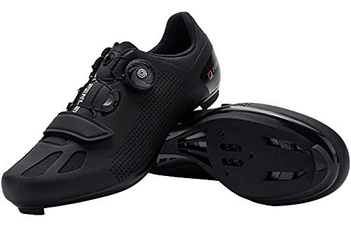 Fenlern Rennradschuhe Herren Fahrradschuh MTB Schuhe Flat Radsportschuhe mit Glasfasersohle (Schwarz,EU 46)