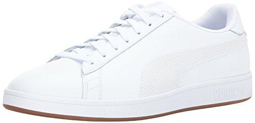 PUMA Men's Smash v2 Lthr Sneaker, White, 8.5 M US