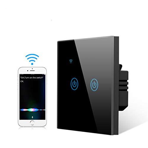 Interruptor de luz táctil inteligente Homekit, interruptor inalámbrico Wifi de vidrio templado compatible con Apple Homekit y Siri, control remoto y de voz, función de temporizador (Negro 2 Gang)