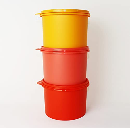 TUPPERWARE Vorratsprofi 3X 1,1L Rot + Erdbeer + Orange Vorratsdose, Kaffeedose, Trockenlagerung + Mini Trichter Lila