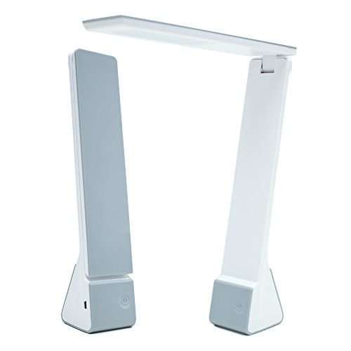 Portable LED Desk Lamp with Rechargeable Battery Travel Size 3 Lighting Choices (Read/Study/Relax) Durable Materials (Silver)