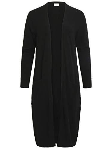 Vila Clothes Damen VIRIL L/S Long Knit Cardigan-NOOS Strickjacke, Schwarz (Black), 40 (Herstellergröße: L)
