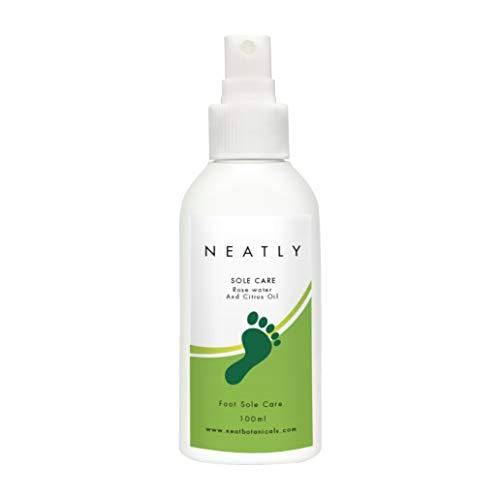Spray hydratant pour les talons par NEATLY Sole Care I 100ml I Soin des pieds et des talons | Spray menthe poivrée et à l'eau de rose 100ml | Alternative à la crème I Hydrate les talons secs