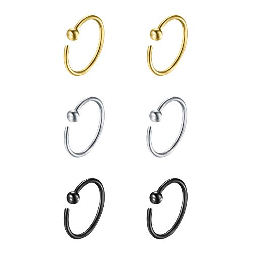 Flechazo Small Thin 925 Sterling Silver 18G Open Nose Ring Hoop Earrings Helix Tragus Piercing 6mm/8mm/10mm/12mm