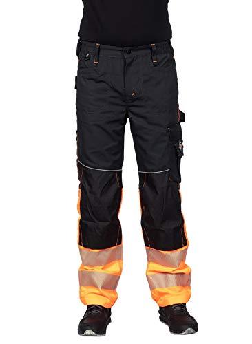 Stenso Prisma - Herren Arbeitshose Bundhose/Cargohose mit Multifunktions/Kniepolster-Taschen - EN ISO 20471 Schwarz/Orange EU54