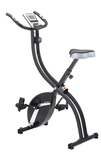 YYFITT Basic Foldable Fitness Exercise Bike with 16 Level Resistance, Countdown Exercise Monitor, Phone/Tablet Holder and Hand Pulse for Home Use (Black)