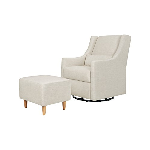 Babyletto Toco Upholstered Swivel Glider and Stationary Ottoman in White Linen, Greenguard Gold Certified