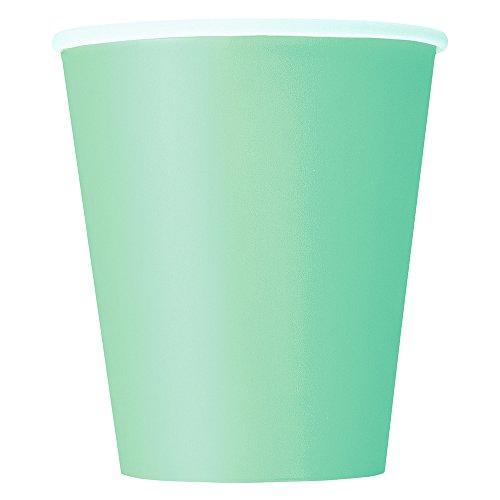 Unique Party 99226 - Gobelets en Carton - 266 ml - Couleur Vert Menthe - Paquet de 14