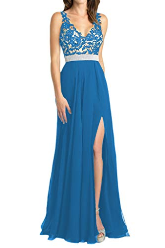 HUINI Damen Abendkleider Elegant Hochzeitskleider Brautjungfernkleider Lang Brautmutterkleider V-Ausschnitt Ballkleider Spitzen A-Linie Meerblau 32
