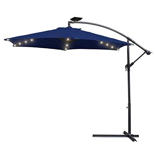 wolketon Blau 3.0m Alu LED Sonnenschirm Garten Schirm Marktschirm Ampelschirm Kurbel Schirm für Garten, Pool, Planschbecken, Terrasse, Camping-Platz, Loggia, Balkon
