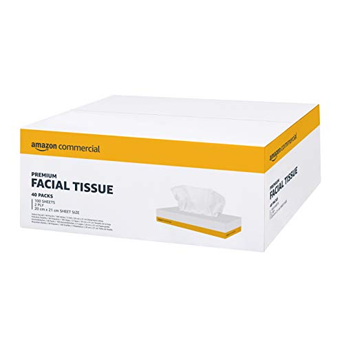 AmazonCommercial Kosmetiktücher (Papiertaschentücher), 20*21 cm - 2 Lagig - 40 Packungen, 4000 Tücher