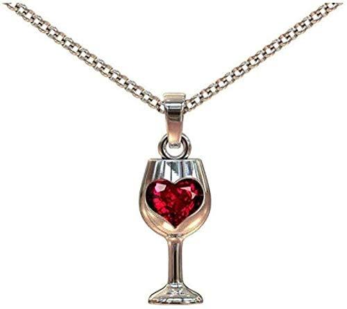 Yiffshunl Collar de diseño único con Colgante de Copa de Vino, Collar de Mujer, corazón Rojo, circonita cúbica, Gargantilla, Collares, Regalo del Día de San Valentín