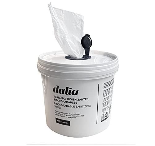 Dalia - Cubo de 600 Toallitas Hidroalcohólicas Biodegradables para Desinfección de Superficies, Blanco