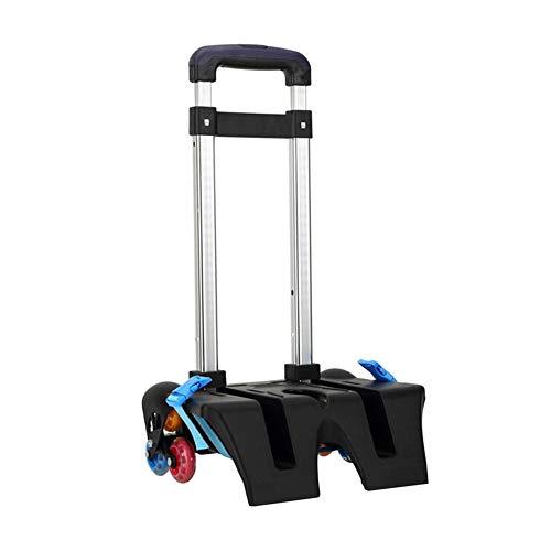 Meijunter Faltbarer Trolley Wagen - Wheeled Aluminiumlegierungs Schultasche Lebensmittelgeschäft Gepäck Handwagen(6 Räder Blau)