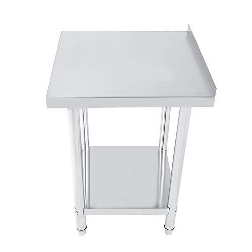 2FT/3FT/4FT - Mesa de trabajo de cocina de acero inoxidable, mesa de trabajo profesional con borde en 2 estantes, mesa de trabajo de preparación para cocina y garaje (61 x 61 cm)