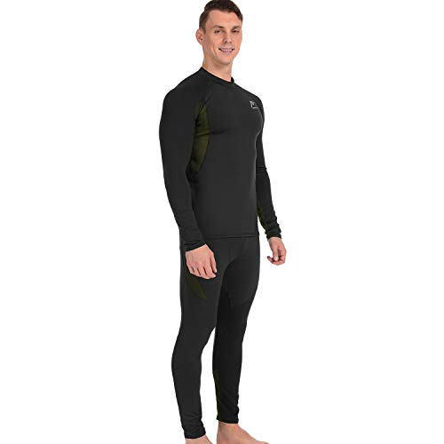 Product Image 4: MeetHoo Thermal Underwear for Men, Fleece Lined Base Layer Set Long Johns for Running Skiing Black