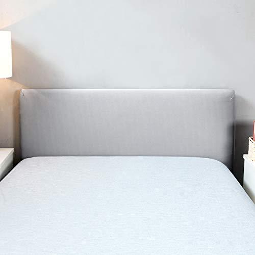 Funda para cabecero de cama de color sólido, elástica, a prueba de polvo, decoración para habitaciones, gris, Double (47-55